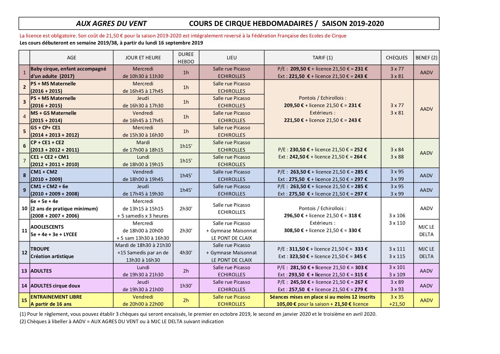 2019-2020 Cours hebdo + tarifs v.déf