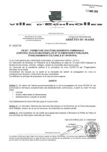 Arrêté Mairie CoronaVirus